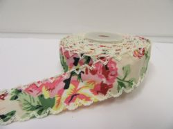 2 metres or 10 metre Roll 25mm Cream Floral Vintage Scalloped Edge Ribbon Cotton